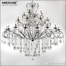 large 28 arms wrought iron chandelier crystal light fixture chrome re de sala crystal hanging lamp for living room md051 l28 chandelier chain swag