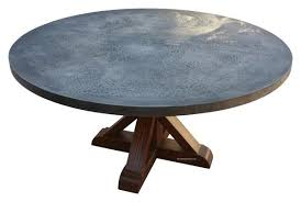 hammered zinc round dining table mortise tenon round zinc dining table
