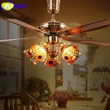 2019 fumat tiffany ceiling fan light led stained glass shade hanging lighting fixtures luminaria lights modern pendant ceiling lamps from kirke