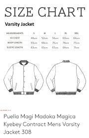 Size Chart Varsity Jacket Xl Xxl Measurements 48cm52c56cm