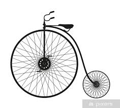 silhouette of an old bicycle wall mural