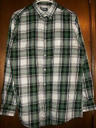 mens shirt sz m chaps black gray white green red plaid 60