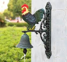 antique cast iron rooster dinner bell