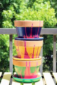 pour painting flower pots macetas con pintura escurridiza live