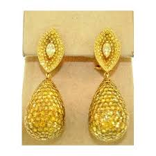 26 00 ct natural fancy yellow diamond chandelier earrings