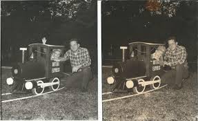 my father and i with the train he built for me