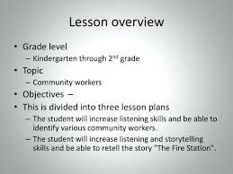 Community Lesson Plans Kindergarten Lesson Overview Community