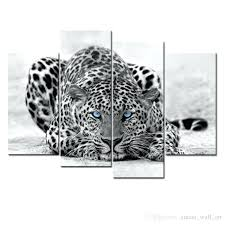 blue and white wall art black white wall art painting blue eyed leopard prints on canvas