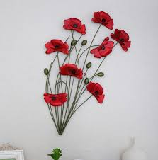modern home decoration metal wall art hand made red poppy flower wall decor 40 65cm on red poppy metal wall art with modern home decoration metal wall art hand made red poppy flower