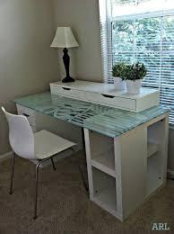beautiful glass topped ikea desk