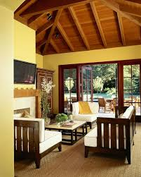 yellow living room furniture. Yellow Rustic Living Room With Exposed Beam Ceiling Furniture