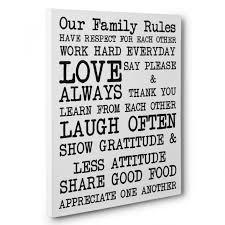 custom our family rules canvas wall art