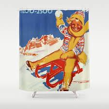 cortina vintage italian travel winter sport shower curtain