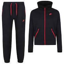 nike tracksuit. nike hybrid fleece tracksuit black/red - front