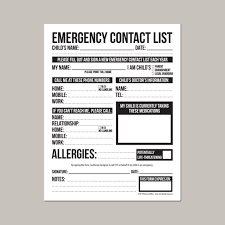 Daycare Form Gorgeous Emergency Contact Form For Nanny Babysitter Or Daycare Etsy