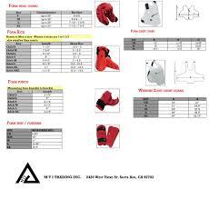 Foam Gear Size Chart Mti Trading Inc