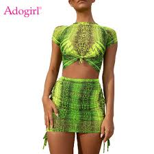 2019 <b>Adogirl Fluorescence Green</b> Pink Snakeskin Print Two Piece ...