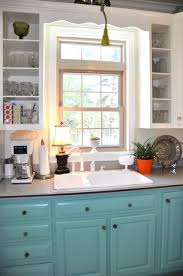 painted kitchen cabinets vintage cream: painted kitchen cabinets retro turquoise style