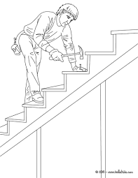 Color This Carpenter On Wood Stairs