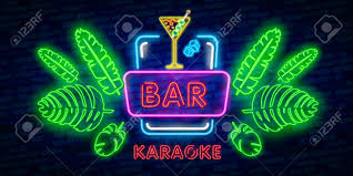 Neon Sign Logo Design Coctail Bar Neon Logo Design Isolated On Black Background Retro