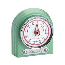 classic aqua kitchen timer in distinct pastel with vintage inspired chrome retro clock timers