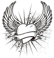 hearts with wings coloring pages the heart wings