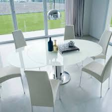 contemporary table glass round extending