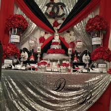 classy design black red. Classy Design Black Red. Coco Chanel Inspired Birthday Party Red And Silver Themed Cake B