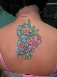 татуировка на спине у девушки цветы и иероглифы фото рисунки