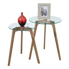 glass nesting round end tables set