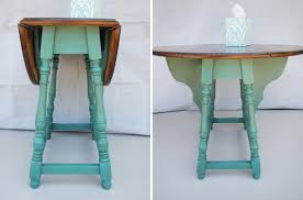 Restored Antique Butterfly Drop Leaf Table - Modern Refinish in Weathered  Teal Green & Walnut. Great for small spaces, apartments