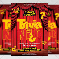 trivia night flyer templates trivia night flyer community a5 template exclsiveflyer free