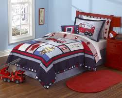 fireman s fire truck boys bedding twin designer quilt set embroidered cotton navy red