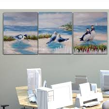 hot handpainted 3 piece sea landsacpe oil painting on canvas bird pictures for bedroom office