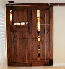 sliding barn door with stacked glass