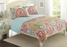 Turquoise & Coral Tropical Beach Quilt Set & Turquoise-Coral-Tropical-Beach-Damask-Full-Queen-Quilt- Adamdwight.com