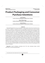 Questionnaire About Packaging Design Pdf Product Packaging And Consumer Purchase Intentions
