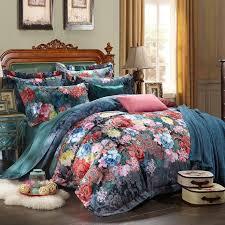 jacquard phony flowers queen duvet cover set dark blue