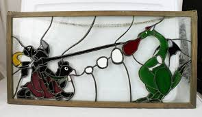 custom made knight and dragon stained glass window hanger 26x13 art included