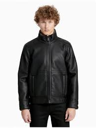 calvin klein outerwear mens pebble faux shearling jacket black