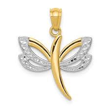 14k yellow gold dragonfly pendant charm necklace insect fine jewelry for women gift set