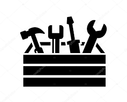 tools icon black. vector black toolbox with tools icon on white \u2014 by bioraven