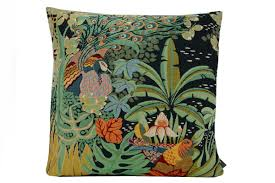 Annes Table | Art Deco cushion cover, Jungle and two birds, 50x50cm ...