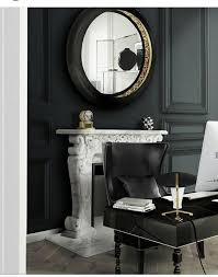 office desk mirror. Black Home Office Ideas Theme With DUKONO Wingback Leather Chair Surrounded By A Big Round Wall Mirror And Desk. Desk