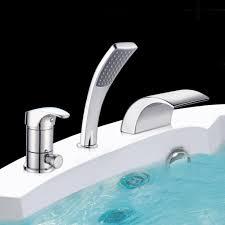 3 Loch Set Badewannenarmatur Wannenrand Hahn Chrom Armatur Wasserfall Handbrause
