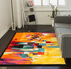 Orange Rug Living Room Champlain Multi Cubes Yellow Orange Blue Modern Abstract Painting