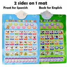 Bilingual Spanish And English Alphabet Electronic Mat Language Talking Chart Poster Learning Toys Double Sides 1 Piece