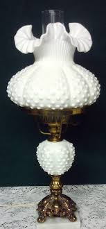 vintage fenton milk glass hobnail desk table lamp marble base