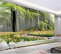 3d Behang Custom Photo Mural Non Woven Natuur Bos Bloemen Herten