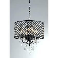 drum crystal chandelier shade in black indoor with silver mist hanging